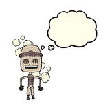 Funny cartoon old robot with thought bubble Stock Photos
