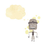 Funny cartoon old robot with thought bubble Royalty Free Stock Images
