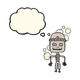 Funny cartoon old robot with thought bubble Royalty Free Stock Image