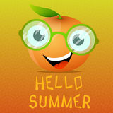 Funny cartoon orange in the eyeglasses Royalty Free Stock Photography