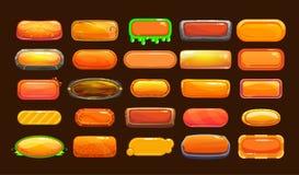 Funny cartoon orange long horizontal buttons vector illustration