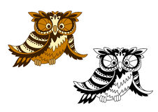 Funny cartoon owl bird in outline style Royalty Free Stock Images