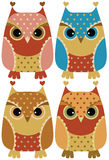 Funny cartoon owls Stock Photos