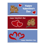 Funny cartoon owls with red heart. Happy Valentines Day Banner. Stock Photography