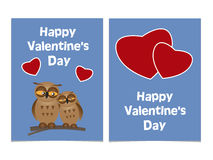 Funny cartoon owls with two red hearts. Happy Valentines Day Car Stock Photography