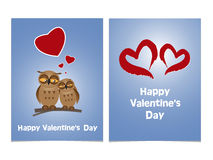 Funny cartoon owls with two red hearts. Happy Valentines Day Car Stock Images