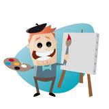 Funny cartoon painter with blank canvas Royalty Free Stock Images