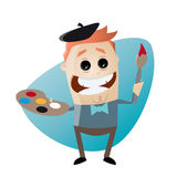 Funny cartoon painter. Illustration of a funny cartoon painter Royalty Free Stock Images