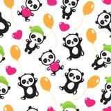 Funny cartoon panda baby bear vector childrens seamless pattern. Panda funny background, seamless pattern with wild character panda teddy illustration Royalty Free Stock Photo