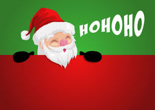 Funny cartoon of a peeping Santa Claus. Funny cartoon illustration of a peeping Santa Claus Stock Images