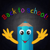 Funny cartoon pencil on chalkboard background. Back to school Stock Image