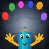 Funny cartoon pencil and colorful balloons on chalkboard backgro Stock Photo