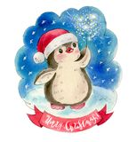Funny cartoon penguin. Christmas greeting card. Funny cartoon penguin with Sparkler fire. Drawing in watercolor and ink royalty free illustration