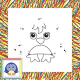 Funny cartoon penguin. Vector illustration for children. Dot to dot game Stock Photo