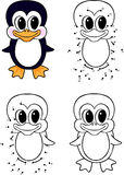 Funny cartoon penguin. Vector illustration. Coloring and dot to Royalty Free Stock Images