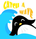 Funny cartoon penguin on the waves. Flat style. Catch a wave. Vector Stock Image
