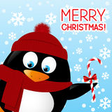 Funny cartoon penguin. On winter background Stock Image
