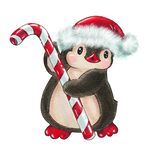 Funny cartoon penguin. Winter illustration with funny cartoon penguin with candy cane and a Christmas hat, isolated on a white background. Drawing in watercolor royalty free illustration