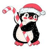 Funny cartoon penguin. Winter illustration with funny cartoon penguin with candy cane and a Christmas hat. Vector stock illustration