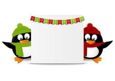 Funny cartoon penguins Stock Photo
