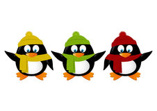 Funny cartoon penguins isolated Stock Image