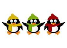 Funny cartoon penguins isolated Stock Image