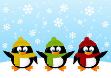 Funny cartoon penguins on winter background Stock Photo