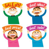 Funny cartoon people holding sign Sale off, Best price Stock Photography