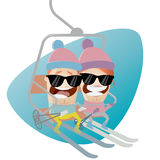Funny cartoon people in the ski lift Stock Images