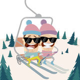 Funny cartoon people in the ski lift Royalty Free Stock Photos