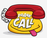 Funny Cartoon Phone for April Fools' Call Prank, Vector Illustration. Funny phone with mischievous smile remembering you that is time to prank calls in April Stock Image