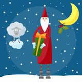 Funny cartoon picture for use in design on winter holiday greeti Royalty Free Stock Photos