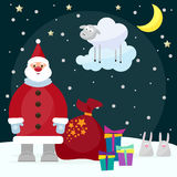 Funny cartoon picture for use in design on winter holiday greeti Royalty Free Stock Image