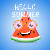 Funny cartoon piece of watermelon Royalty Free Stock Image