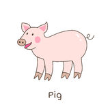 Funny cartoon pig, children illustration Royalty Free Stock Images