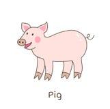 Funny cartoon pig, children illustration Royalty Free Stock Images