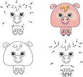 Funny cartoon pig. Vector illustration. Coloring and dot to dot Royalty Free Stock Photography