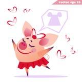 Funny cartoon piggy girl is dreaming stock illustration