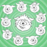 Funny cartoon piglet faces around big pig face Royalty Free Stock Photos