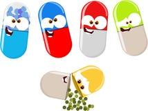 Funny cartoon pills. Various cartoon pills having fun Royalty Free Stock Photography