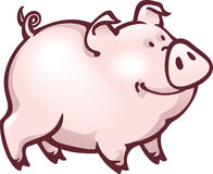 Funny cartoon pink piglet with contented look. Stock Photos
