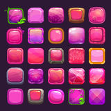Funny cartoon pink square buttons collection Royalty Free Stock Images