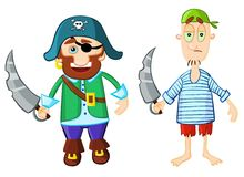Funny cartoon pirates Stock Images