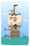 Dangerous pirates. Funny cartoon pirates in barrel Stock Photo