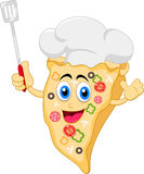 Funny cartoon pizza chef character vector illustration