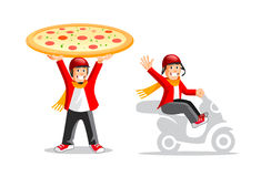 Funny cartoon pizza delivery guy. Cartoon illustration of a smiling pizza delivery guy Stock Photography