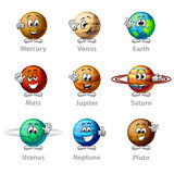 Funny cartoon planets icons vector set Stock Images