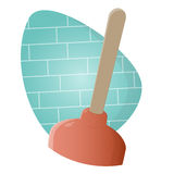 Funny cartoon plunger Stock Images