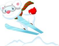 Funny cartoon polar bear on the Ski Stock Photos