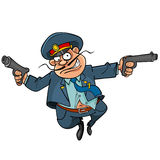 Funny cartoon policeman with guns running. Funny cartoon mustachioed policeman with guns running Stock Image